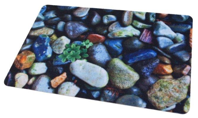 Придверный коврик RemiLing Камни (принт), размер: 0.68х0.45 м, синий/серый