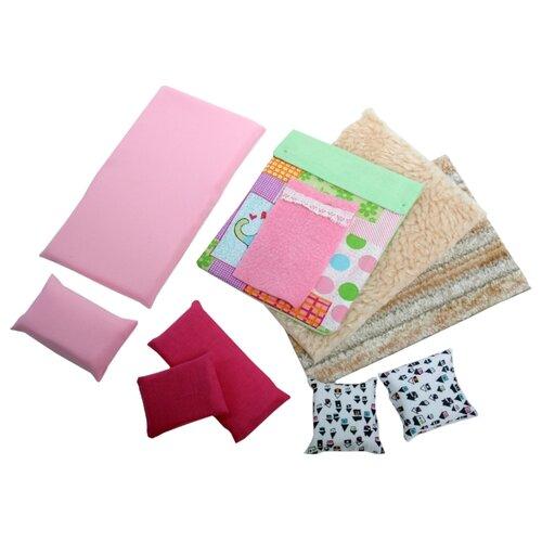 Купить Набор текстиля для интерьера SunnyToy для кукольного домика Варя розовый/бежевый, Аксессуары для кукол