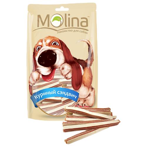 Лакомство для собак Molina Куриный сэндвич, 80 г molina molina лакомство для собак мелких пород утиные кусочки 50 г