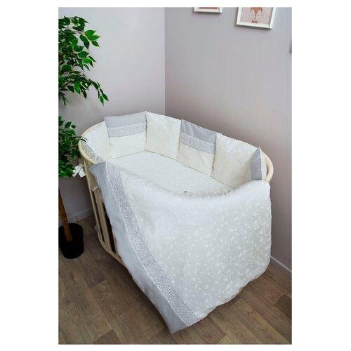 Купить Сонный Гномик комплект Тридцать три короны с бортиками-подушками (7 предметов) молочный, Постельное белье и комплекты