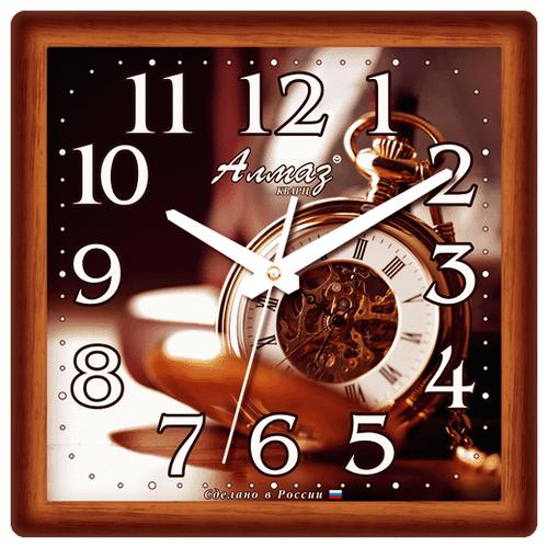 Часы настенные кварцевые Алмаз K09 коричневый