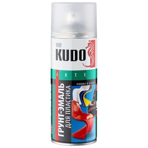 Грунт-эмаль KUDO для пластика серебристый 520 мл