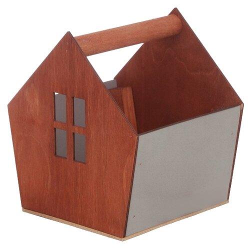 Ящик Дарите счастье скворечник 15×16,5×18,5 см серый/коричневый