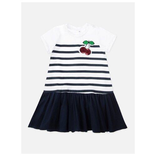 Платье playToday размер 80, белый/синий