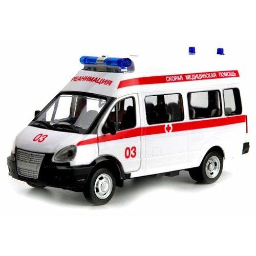 Микроавтобус ТЕХНОПАРК ГАЗель Реанимация (X600-H09006-R) 1:43 20 см белый/красный легковой автомобиль технопарк электокар x600 h09225 r 10 см черный белый