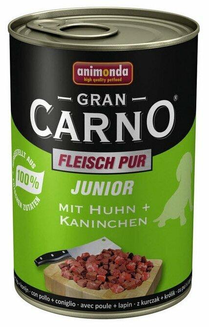 Корм для щенков Animonda GranCarno Fleisch pur курица, кролик 400г