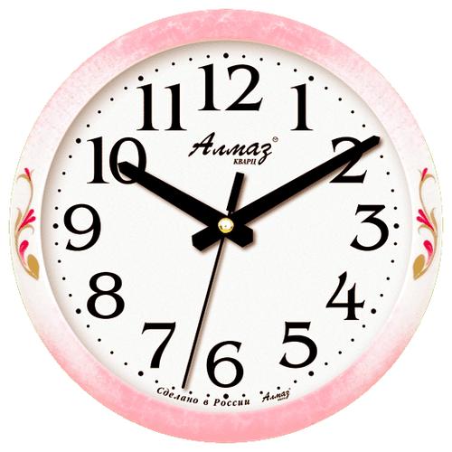 Часы настенные кварцевые Алмаз E16 белый/розовый часы настенные кварцевые алмаз p12 золотистый белый