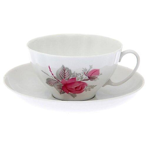 Дулёвский фарфор Чашка чайная с блюдцем Белый лебедь Дикая роза 275 мл