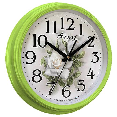 Часы настенные кварцевые Алмаз C26 зеленый/белый