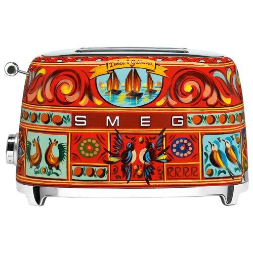 Тостер smeg TSF01DGEU, красный/синий/голубой тостер smeg tsf 02 rdeu красный