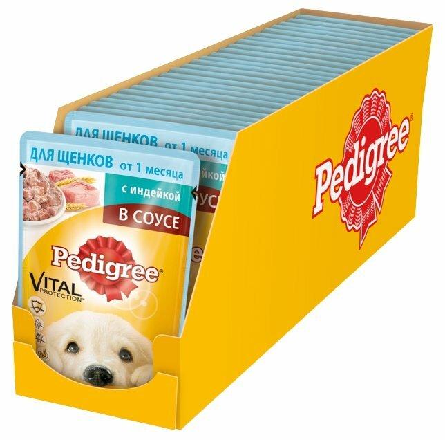 Корм для щенков Pedigree для здоровья кожи и шерсти, индейка 24шт. х 85г