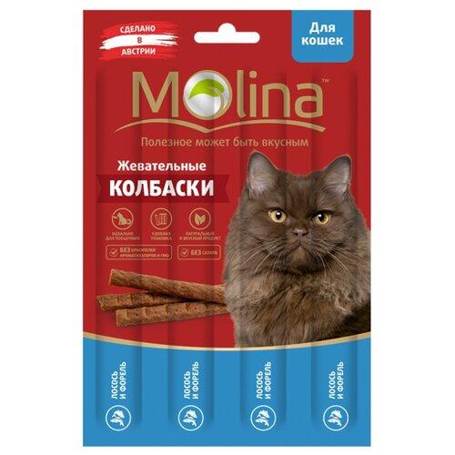 Лакомство для кошек Molina Жевательные колбаски Лосось и форель, 5г х 4шт. в уп. 20 г