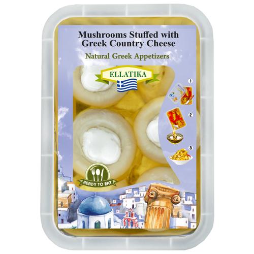 Шампиньоны ELLATIKA фаршированные греческим сыром, в подсолнечном масле 230 г