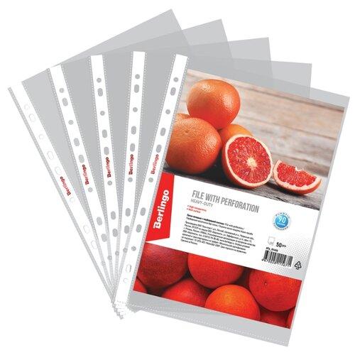 Купить Папка-вкладыш с перфорацией Berlingo, А4, 90мкм, матовая, упаковка 50 шт., Файлы и папки