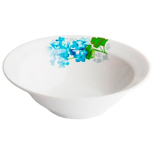 Дулёвский фарфор Миска круглая Голубая герань 300 мл белый