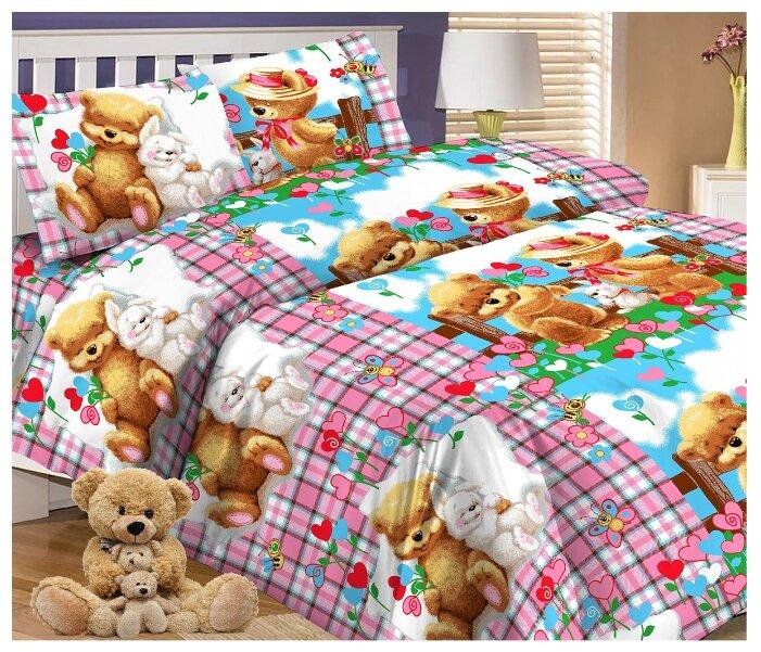 Купить Постельное белье 1.5-спальное Letto Мишки и зайка, перкаль, 50 х 70 см по низкой цене с доставкой из Яндекс.Маркета