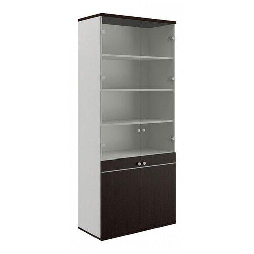 Шкаф офисный Pointex Свифт-7 90x45x207 см белый/дуб темный