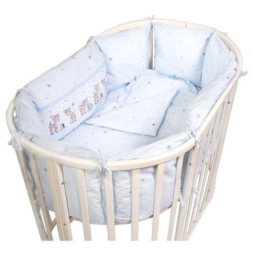 Сонный Гномик Тайна Снов бортик Оленята (11 подушек) голубойПостельное белье и комплекты<br>