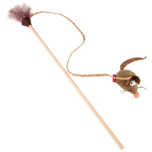 Дразнилка для кошек GiGwi Feather Teaser ЭКО с мышкой (75449) бежевый/коричневый дразнилка для кошек gigwi feather teaser с ручкой 75429 коричневый черный