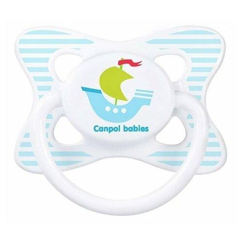 Купить Пустышка латексная классическая Canpol Babies Summertime 6-18 м (1 шт) голубой/кораблик, Пустышки и аксессуары