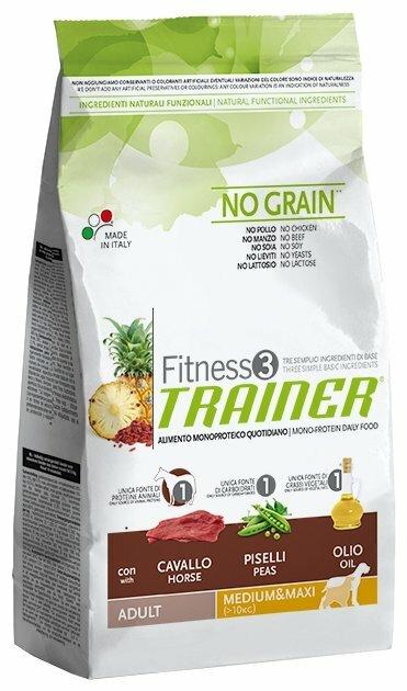 Корм для собак TRAINER (12.5 кг) Fitness3 No Grain Adult Medium&Maxi Horse and peas dry