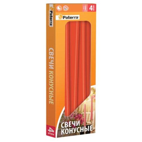 Набор свечей Paterra конусных красный 4 шт. зажим для рулетов paterra длина 39 см 4 шт