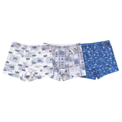 Купить Трусы BAYKAR 3 шт., размер 110/116, голубой/серый/молочный, Белье и пляжная мода