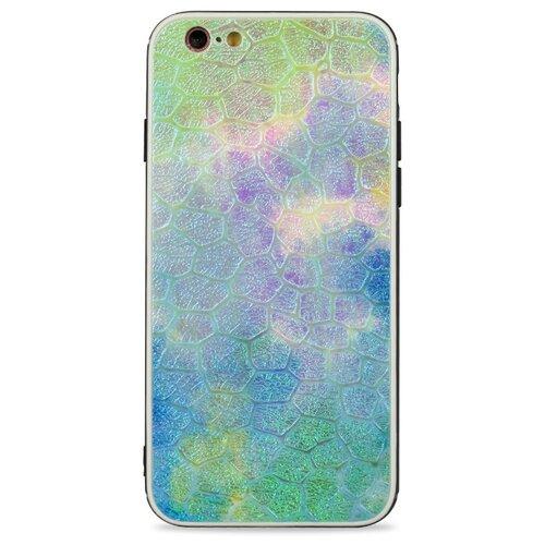 Кожаный чехол с защитным силиконовым бампером для iPhone 6 и 6S / Глянцевая накладка с рельефной эко-кожей на Айфон 6 и 6С (Синий)