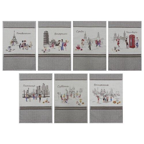 Оршанский льнокомбинат Набор полотенец Неделька 17С59 кухонное 47х70 см ситиПолотенца<br>