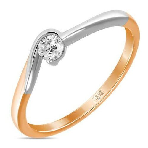 ЛУКАС Кольцо с 1 бриллиантом из красного золота R01-D-IGR-20626, размер 16 кольцо из золота r01 d r306443sap