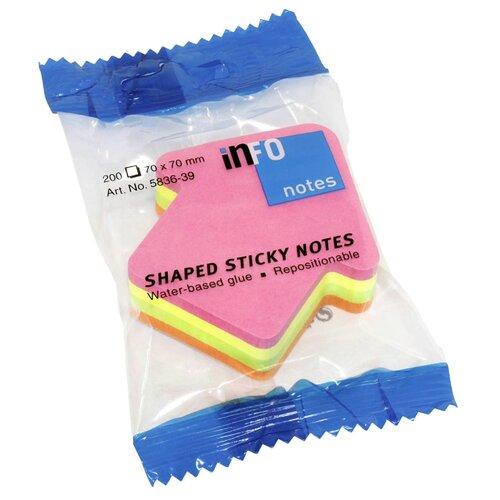 Global Notes блок с липким слоем Стрела 4 цвета, 70х70 мм 200 листов (583539) розовый/желтый/зеленый/оранжевый