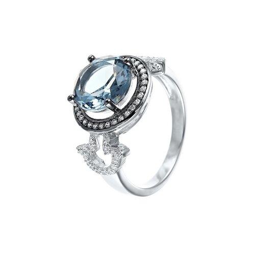ELEMENT47 Кольцо из серебра 925 пробы с кубическим цирконием и ювелирным стеклом SR28073-3_KO_US_001_WG, размер 17.75