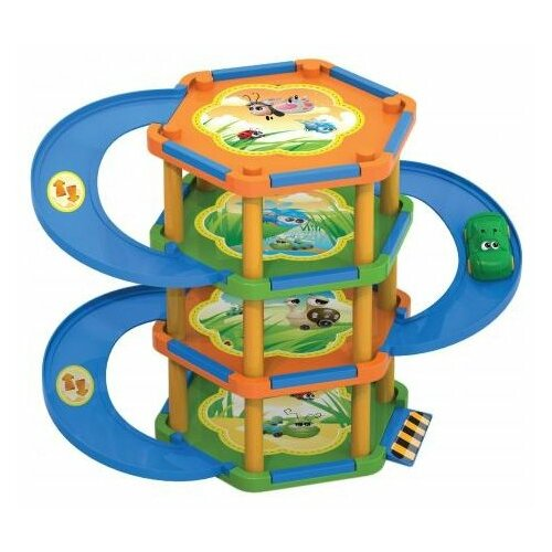 Купить Нордпласт Букашкин Дом (51 деталь) синий/оранжевый/зеленый, Детские парковки и гаражи