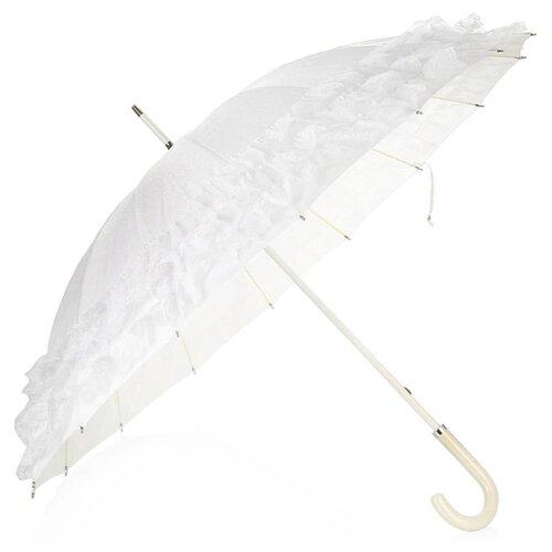 Зонт-трость механика ZEST 21572W белый зонт трость для коляски magic rain механика цвет розовый металлик 11919 1