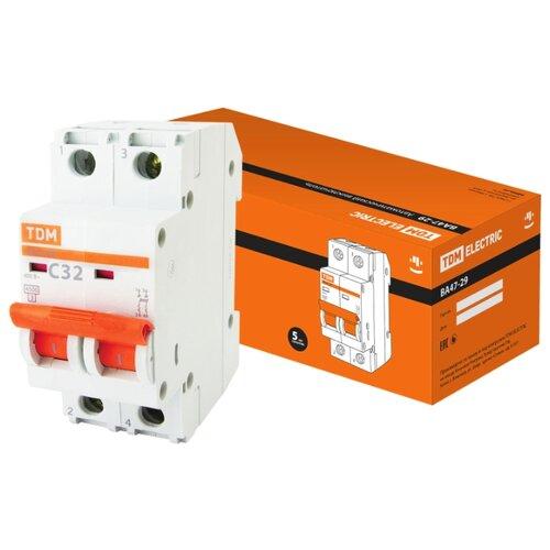 Автоматический выключатель TDM ЕLECTRIC ВА 47-29 2P (C) 4,5kA 32 А рубильник tdm еlectric вн 32 2p 40 а