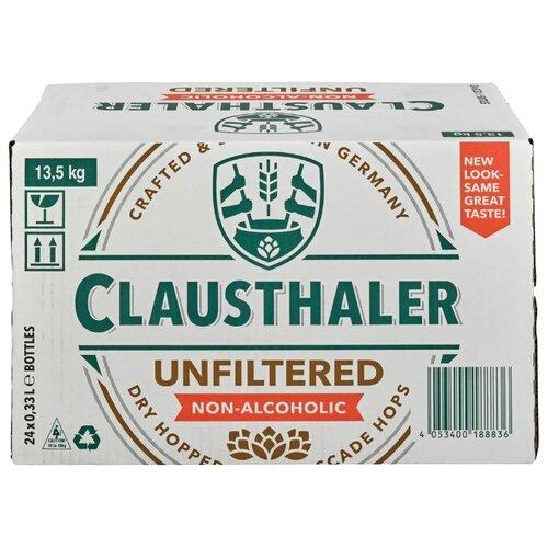 Светлое пиво Clausthaler Unfiltered безалкогольное 0.33 л 24 шт