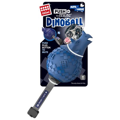 Мячик для собак GiGwi Push to mute Dinoball (75398) синий