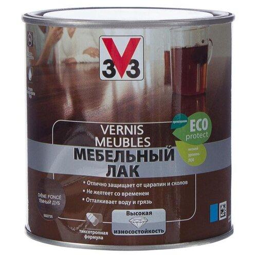 Лак V33 Водный для мебели глянцевый полиакриловый темный дуб 0.5 л