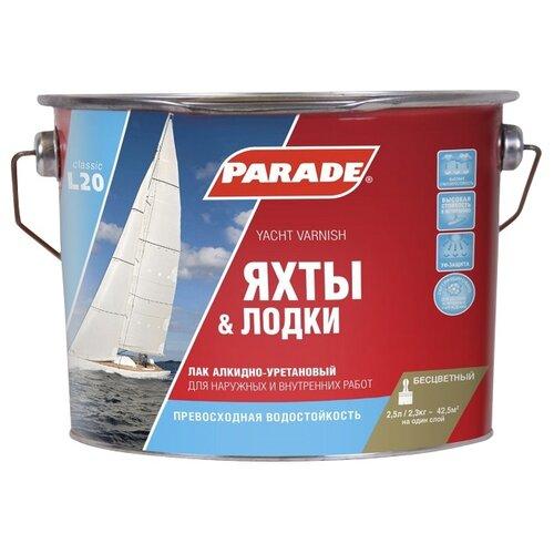 Фото - Лак яхтный Parade L20 Яхты & Лодки глянцевый алкидно-уретановый бесцветный 2.5 л лак алкидно уретановый parade яхтный 2 5л глянцевый арт l20г2 5