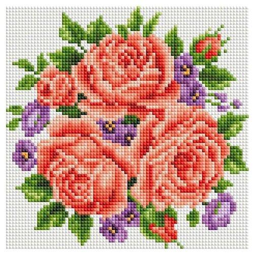 Купить Белоснежка Набор алмазной вышивки Розы и фиалки (277-ST-S) 20х20 см, Алмазная вышивка