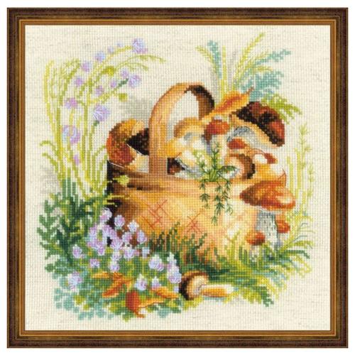 Купить Риолис Набор для вышивания крестом Грибное лукошко 30 x 30 (1363), Наборы для вышивания