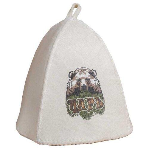 Добропаровъ Банная шапка с термопечатью Царь белый