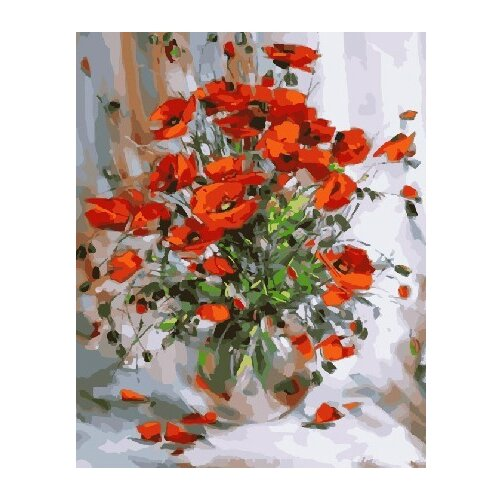 Купить ВанГогВоМне Картина по номерам Маки на белом фоне , 40х50 см (ZX 22111), Картины по номерам и контурам