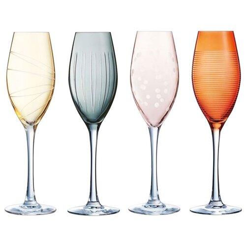 Eclat Набор бокалов Illumination Colors L7602 4шт 240мл розовый/голубой/желтый/оранжевый