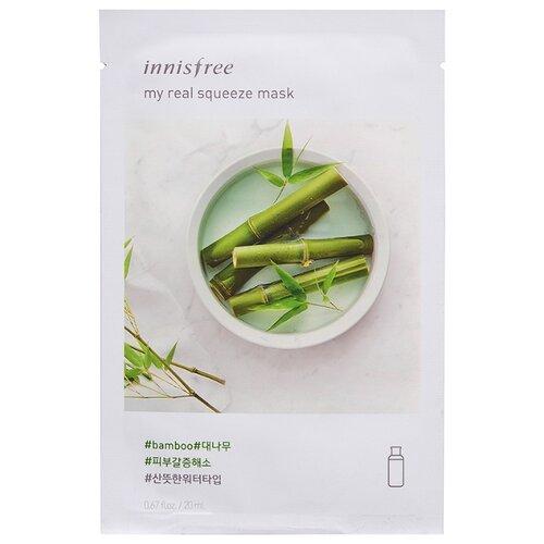 Innisfree тканевая маска My real squeeze mask-bamboo с экстрактом бамбука, 20 мл