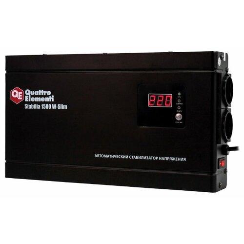 цена на Стабилизатор напряжения однофазный Quattro Elementi Stabilia W-Slim 1500 (0.9 кВт)