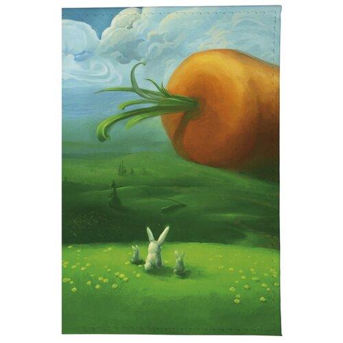 Обложка для паспорта Mitya Veselkov Заяц и морковка OK059, зеленый/оранжевый/голубой