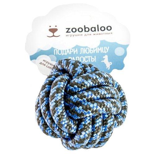 Мячик для собак Zoobaloo Кулак обезьяны шнур 10 см черный/синийИгрушки для кошек и собак<br>