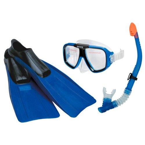 Набор для плавания с ластами Intex Aviator размер 38-40 синий