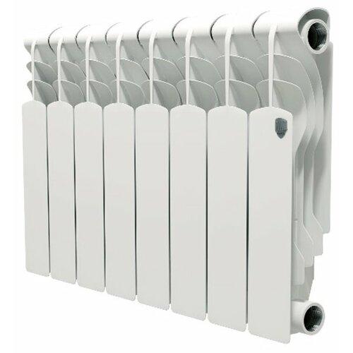 Радиатор секционный алюминий Royal Thermo Revolution 350 x8 теплоотдача 665.6 Вт, подключение универсальное боковое Bianco Traffico биметаллический радиатор rifar рифар b 500 нп 10 сек лев кол во секций 10 мощность вт 2040 подключение левое
